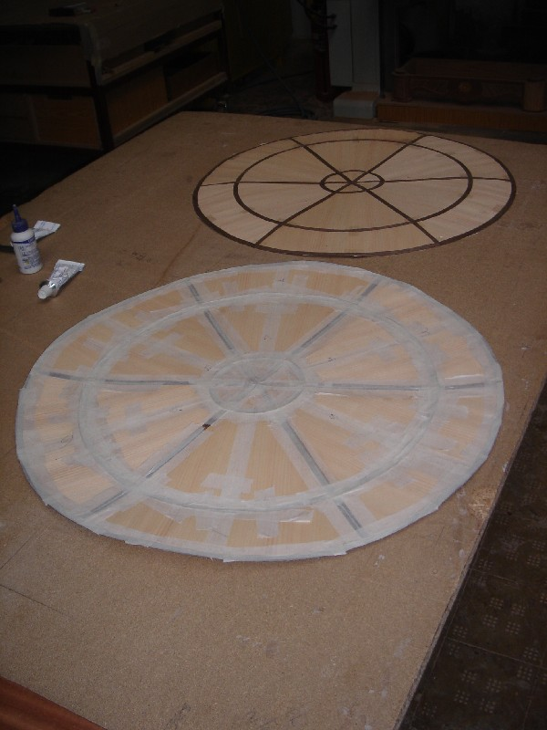 Tapas de mesa redondas en haya y wengé - Dos tapas de mesa de 40 mm. de espesor en haya y wengé