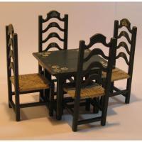 Mesa cocina y 4 sillas enea pintadas y decoradas a mano - Mesa de cocina Miniarte y 4 sillas enea montadas, pintadas y decoradas a mano