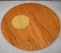 Tapas redondas de Peroba y boj - Chapeado de 2 tapas de mesa redondas en Peroba y Boj