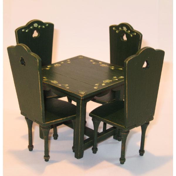 Mesa cocina y 4 sillas pintadas y decoradas a mano | MINIARTE ...